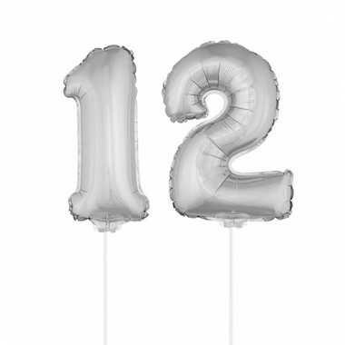Folie ballonnen cijfer 12 zilver 41 cm