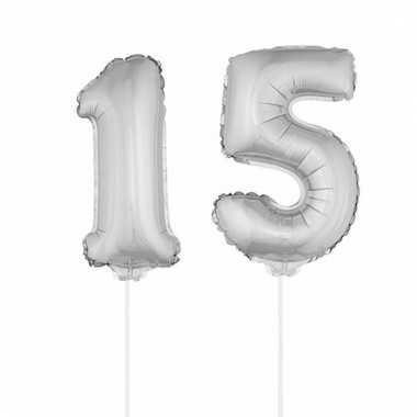 Folie ballonnen cijfer 15 zilver 41 cm