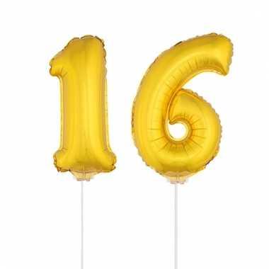 Folie ballonnen cijfer 16 goud 41 cm