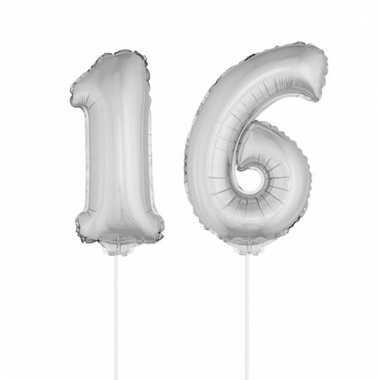 Folie ballonnen cijfer 16 zilver 41 cm