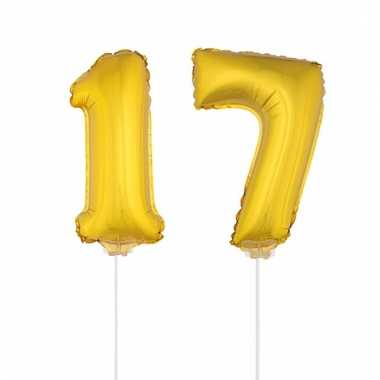 Folie ballonnen cijfer 17 goud 41 cm