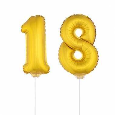 Folie ballonnen cijfer 18 goud 41 cm