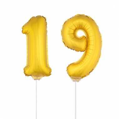 Folie ballonnen cijfer 19 goud 41 cm