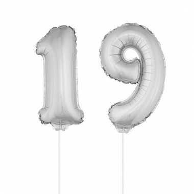 Folie ballonnen cijfer 19 zilver 41 cm