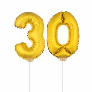 Folie ballonnen cijfer 30 goud 41 cm