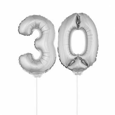 Folie ballonnen cijfer 30 zilver 41 cm