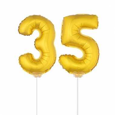 Folie ballonnen cijfer 35 goud 41 cm