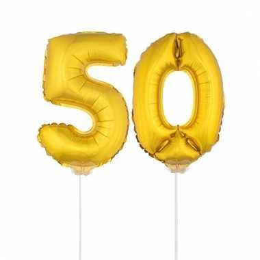 Folie ballonnen cijfer 50 goud 41 cm