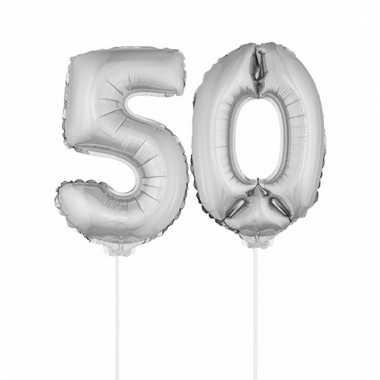 Folie ballonnen cijfer 50 zilver 41 cm