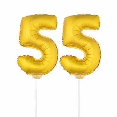 Folie ballonnen cijfer 55 goud 41 cm