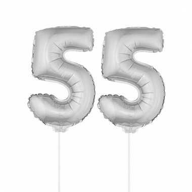 Folie ballonnen cijfer 55 zilver 41 cm