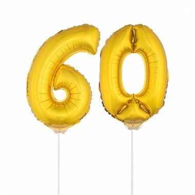 Folie ballonnen cijfer 60 goud 41 cm
