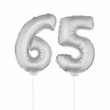 Folie ballonnen cijfer 65 zilver 41 cm