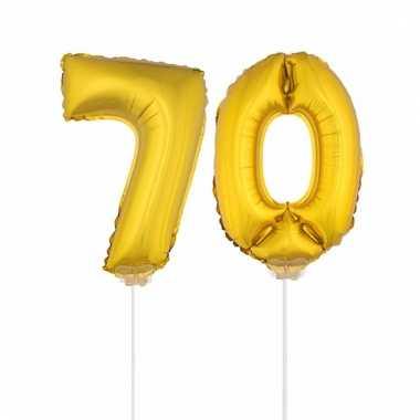 Folie ballonnen cijfer 70 goud 41 cm