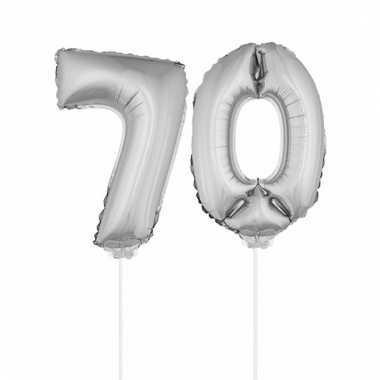 Folie ballonnen cijfer 70 zilver 41 cm