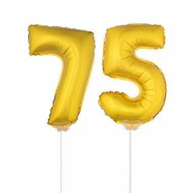 Folie ballonnen cijfer 75 goud 41 cm