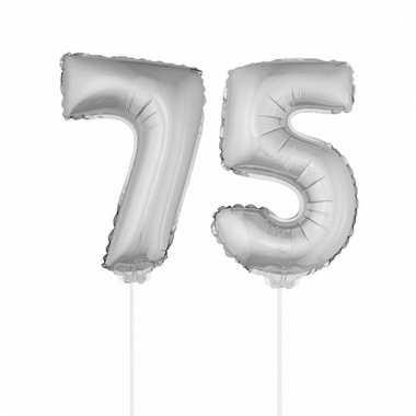 Folie ballonnen cijfer 75 zilver 41 cm