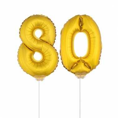 Folie ballonnen cijfer 80 goud 41 cm