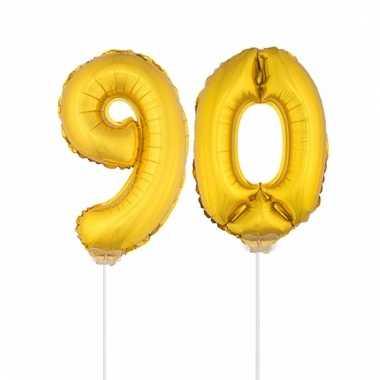Folie ballonnen cijfer 90 goud 41 cm