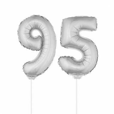 Folie ballonnen cijfer 95 zilver 41 cm