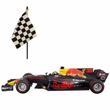 Formule 1 speelgoedwagen max verstappen 1:43 met finish zwaaivlaggetj