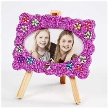 Foto lijstje knutselset met paarse klei
