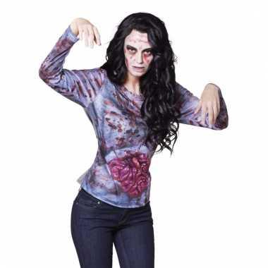 Fotorealistisch bloederige zombie shirt voor dames