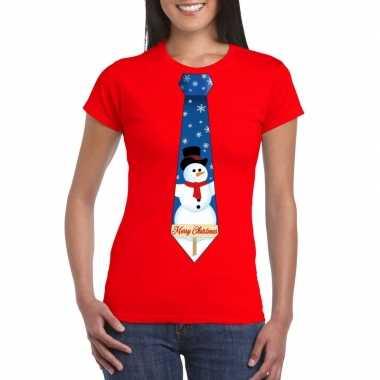Fout kerst shirt rood sneeuwman stropdas voor dames