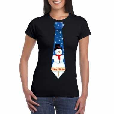 Fout kerst shirt zwart sneeuwman stropdas voor dames