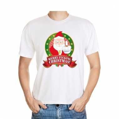 Foute kerst shirt wit merry fucking christmas voor heren