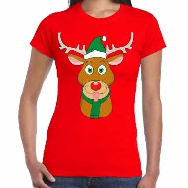 Foute kerst t-shirt rood met ruldolf het rendier met groene muts voor