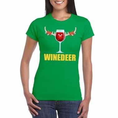Foute kerstborrel t-shirt groen winedeer dames