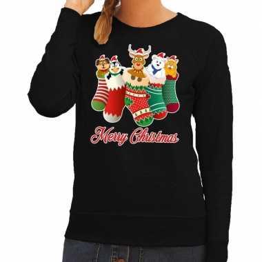 Foute kerstborrel trui zwart kerstsokken met diertjes voor dames