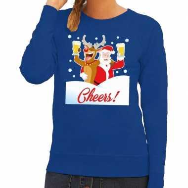 Foute kersttrui cheers met dronken kerstman en rudolf voor dames