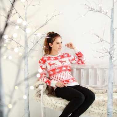 Foute kersttrui nordic print rood/wit voor dames
