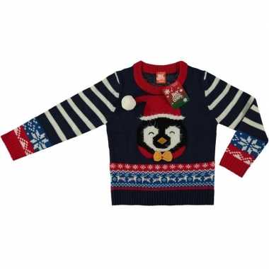 Foute kersttrui pinguin navy voor kinderen