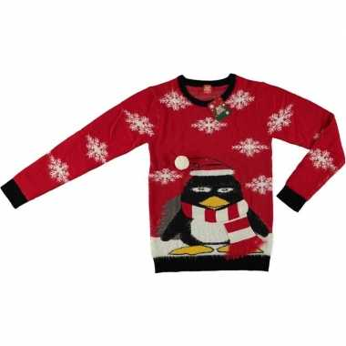 Foute kersttrui pinguin rood voor volwassenen