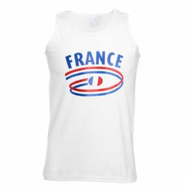 Frankrijk tanktop voor heren met vlaggen print