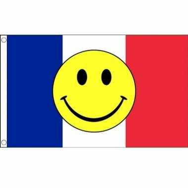 Frankrijk vlag met smiley 90 x 150 cm
