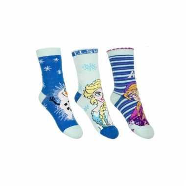 Frozen kindersokken blauw set van 3