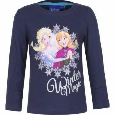 Frozen shirt lange mouw blauw voor meiden