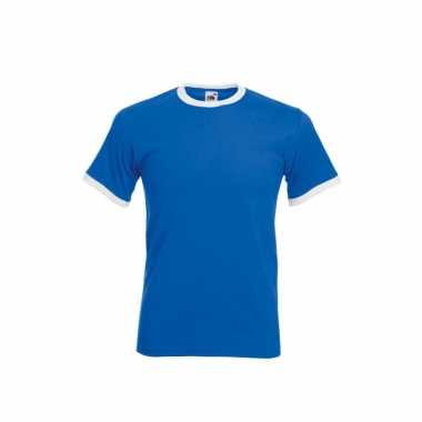 Fruit of the loom ringer blauw met wit shirt