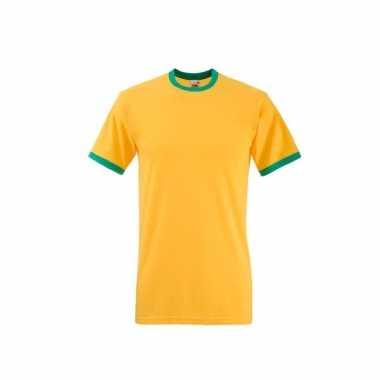 Fruit of the loom ringer geel met groen shirt