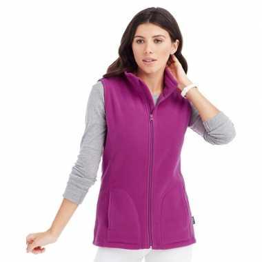 Fuchsia paarse fleece bodywarmer winterkleding voor dames