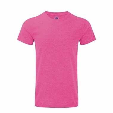 Fuchsia roze basic shirt met ronde hals voor heren