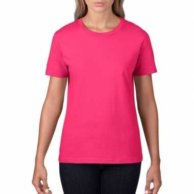Fuchsia roze dames casual t-shirts met ronde hals