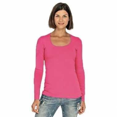 Fuchsia roze longsleeve shirt met ronde hals voor dames