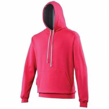 Fuchsia roze sweater met capuchon