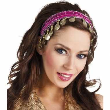 Fuchsia roze verkleed/feest buikdanseressen hoofdband/diadeem voor da