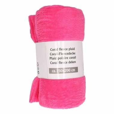 Fuchsia roze warme fleece deken 150 x 200 cm